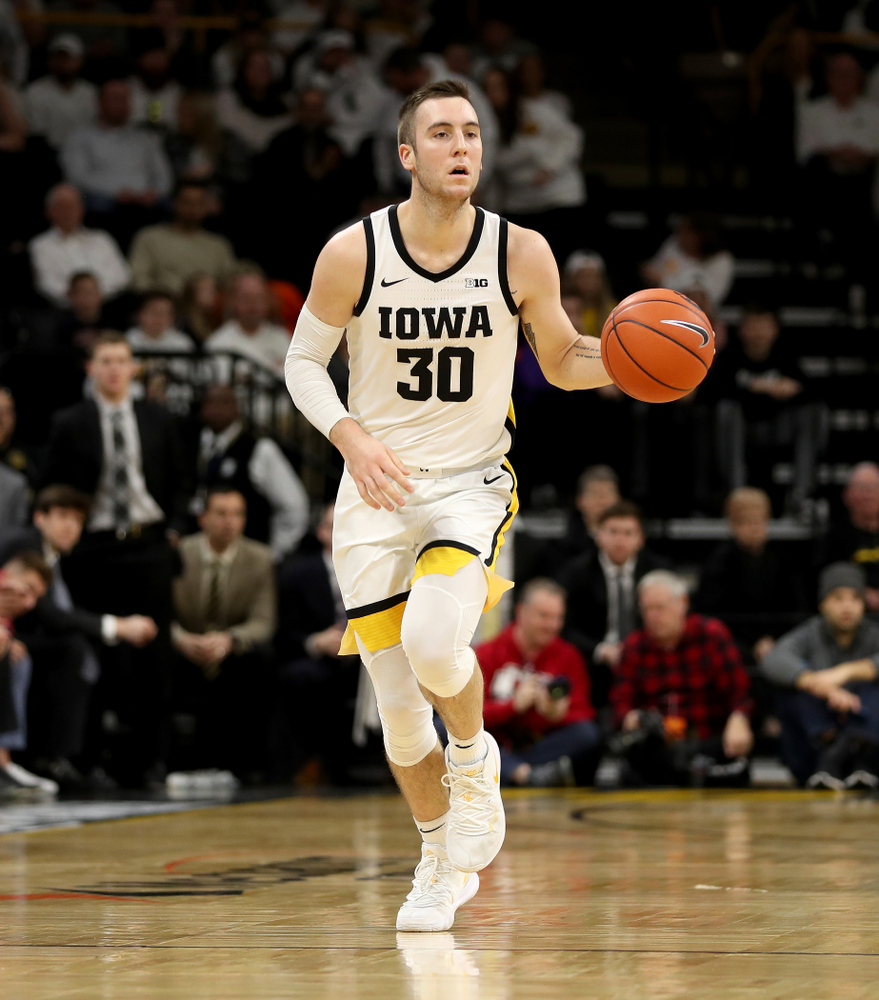 Iowa Hawkeyes guard Connor McCaffery (30) against the Illinois Fighting Illini Sunday, February 2, 2020 at Carver-Hawkeye Arena. (Brian Ray/hawkeyesports.com)