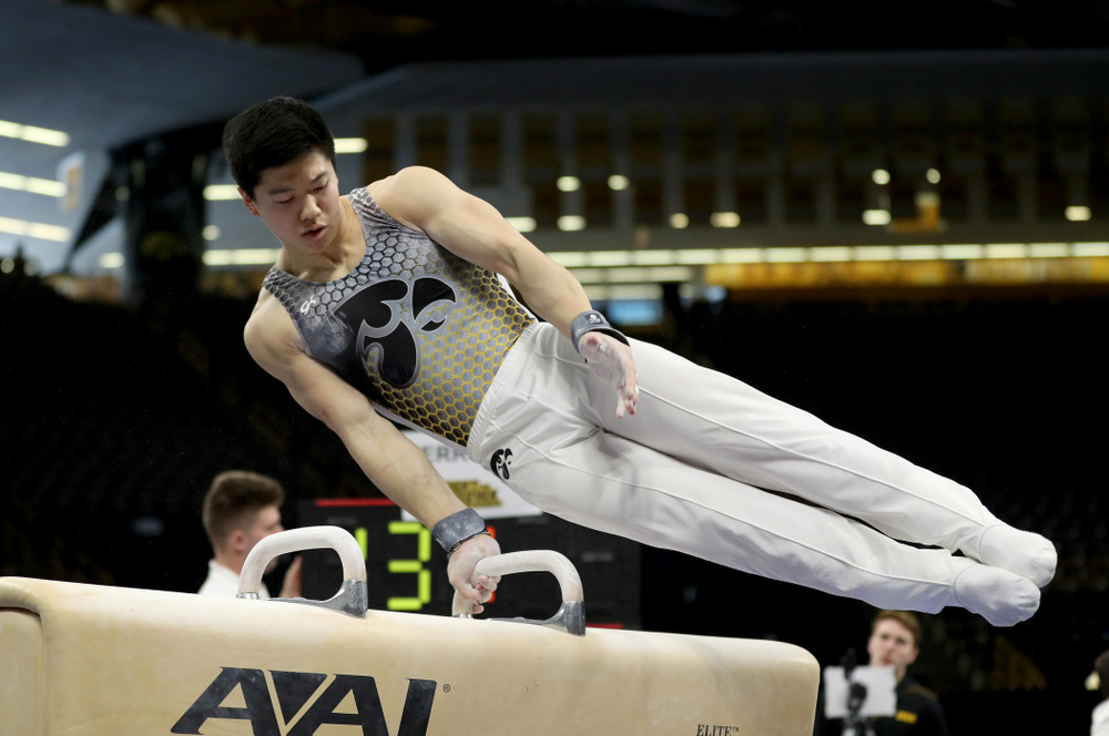 Iowa's Bennet Huang competes on the Pommel Horse against UIC and Minnesota Saturday, February 1, 2020 at Carver-Hawkeye Arena. (Brian Ray/hawkeyesports.com)