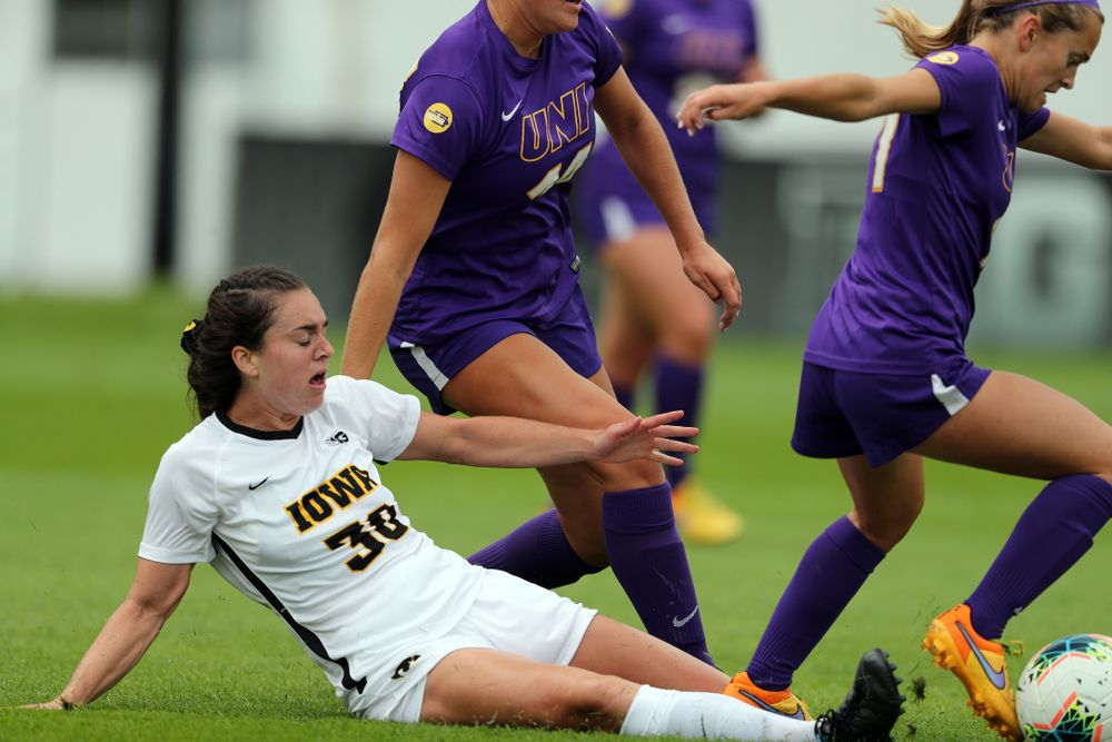 Iowa Hawkeyes forward Devin Burns (30) during a 6-1 win over Northern Iowa Sunday, August 25, 2019 at the Iowa Soccer Complex. (Brian Ray/hawkeyesports.com)