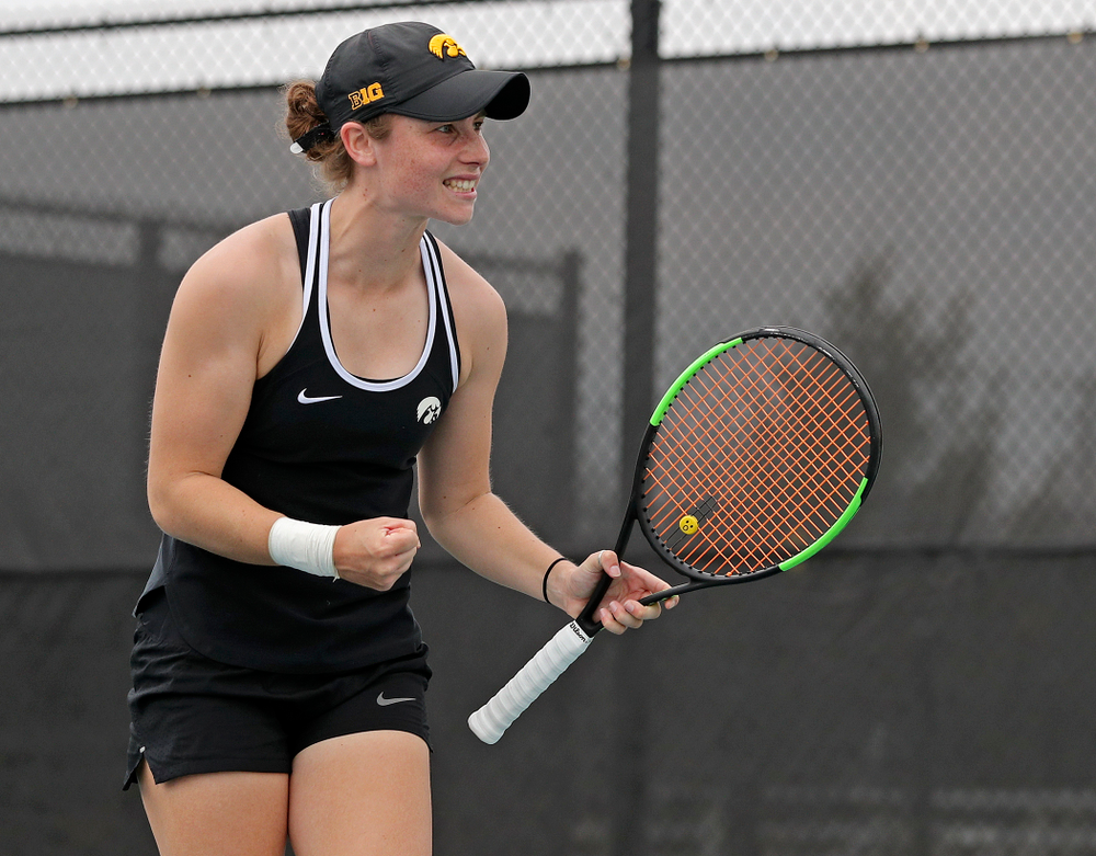 Iowa's Elise van Heuvelen Treadwell celebrates a point during a match against Rutgers at the Hawkeye Tennis and Recreation Complex in Iowa City on Friday, Apr. 5, 2019. (Stephen Mally/hawkeyesports.com)