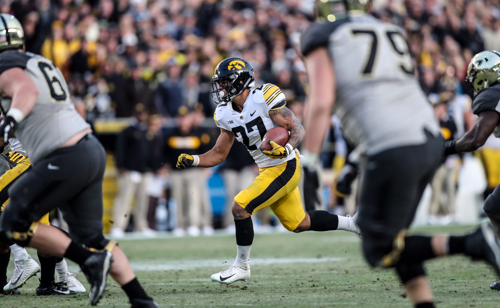 Iowa Hawkeyes defensive back Amani Hooker (27) intercepts a pass against the Purdue Boilermakers Saturday, November 3, 2018 Ross Ade Stadium in West Lafayette, Ind. (Max Allen/hawkeyesports.com)