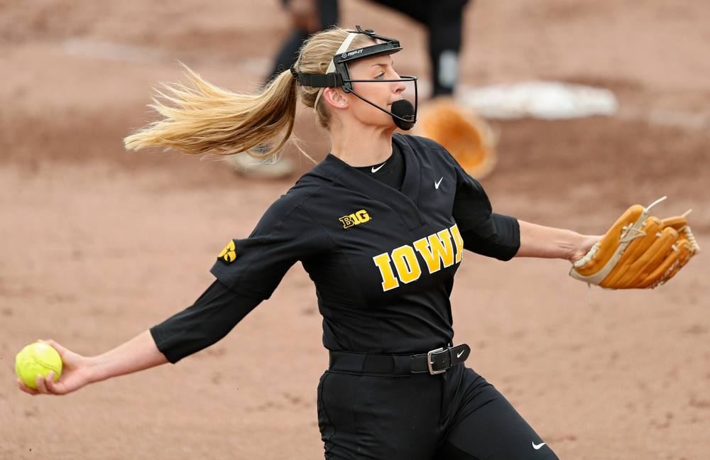 Iowa pitcher Allison Doocy (3) delivers to the plate for a strikeout during the fourth inning of their game against Iowa Softball vs Indian Hills Community College at Pearl Field in Iowa City on Sunday, Oct 6, 2019. (Stephen Mally/hawkeyesports.com)