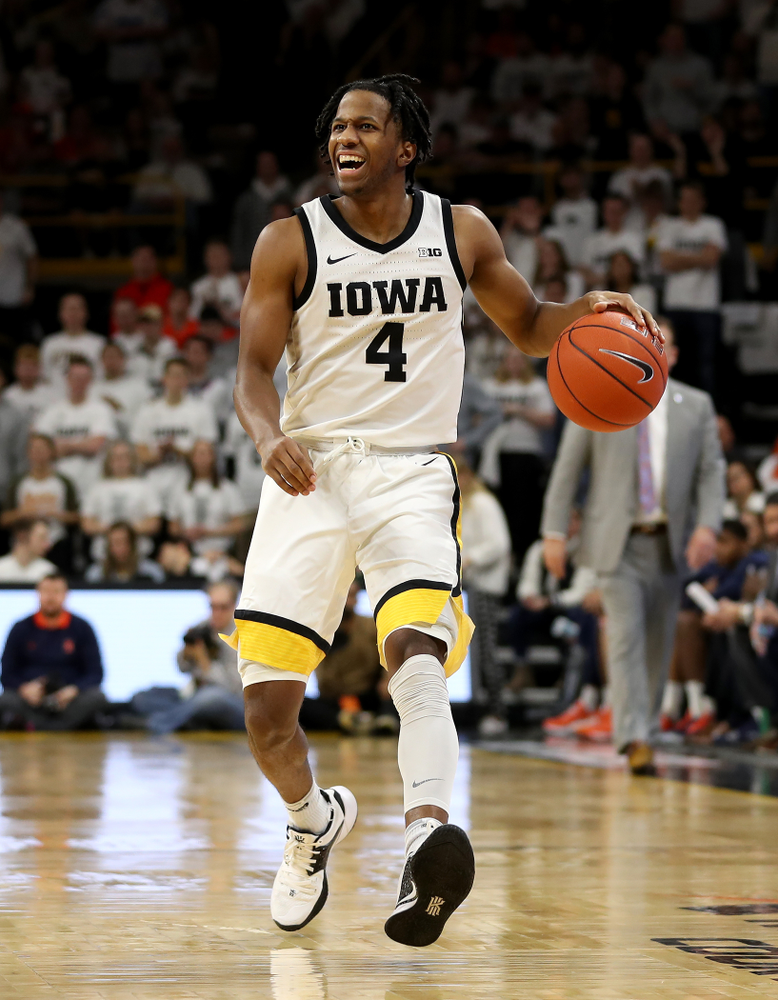 Iowa Hawkeyes guard Bakari Evelyn (4) against the Illinois Fighting Illini Sunday, February 2, 2020 at Carver-Hawkeye Arena. (Brian Ray/hawkeyesports.com)