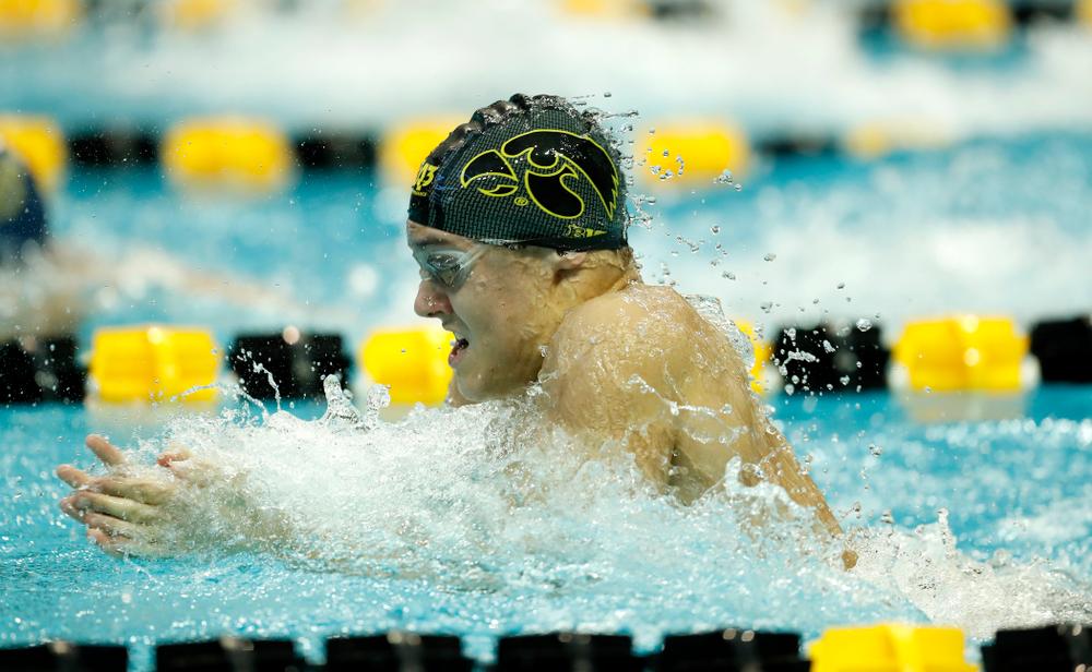 Saturday, January 13, 2018 (Brian Ray/hawkeyesports.com)Iowa's Daniel Swanepoel swims the breaststroke leg of the 200 yard medley relay