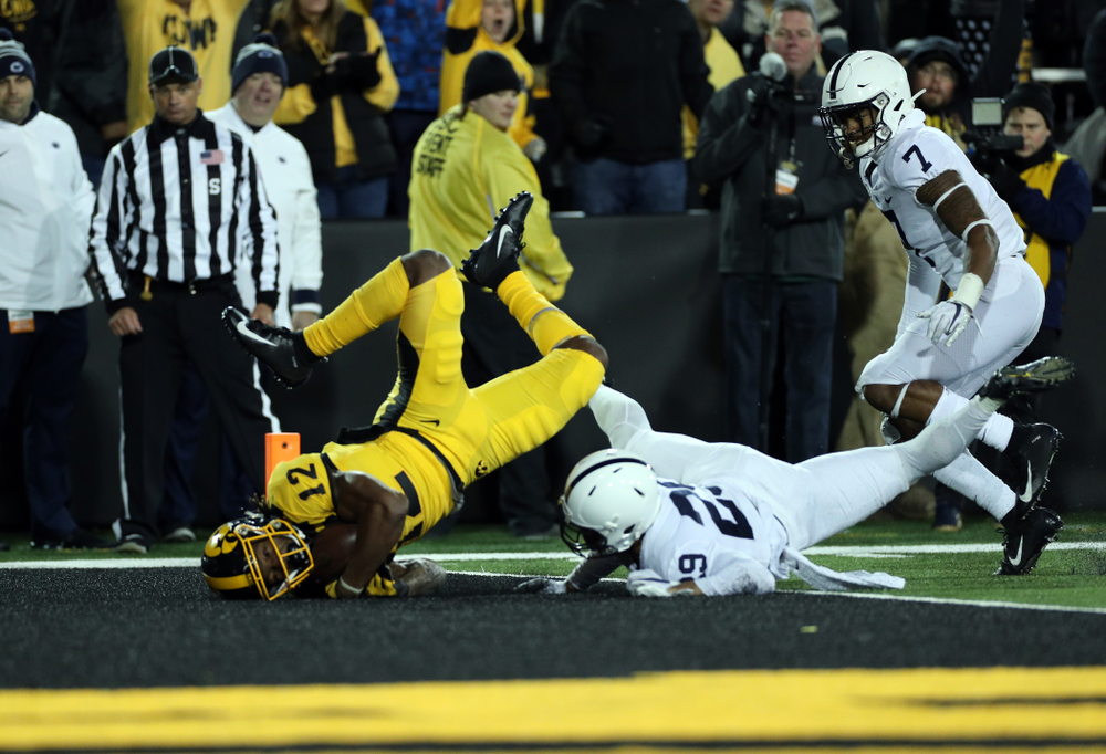 Iowa Hawkeyes wide receiver Brandon Smith (12) catches a touchdown pass against the Penn State Nittany Lions Saturday, October 12, 2019 at Kinnick Stadium. (Brian Ray/hawkeyesports.com)