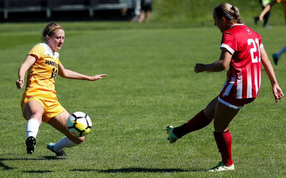Iowa Hawkeyes defender Leah Moss (14) defends during a game against Indiana at the Iowa Soccer Complex on September 23, 2018. (Tork Mason/hawkeyesports.com)