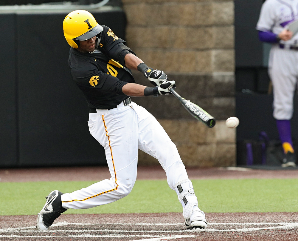 Iowa Hawkeyes third baseman Lorenzo Elion (1) drives in a run during the second inning of their game against Western Illinois at Duane Banks Field in Iowa City on Wednesday, May. 1, 2019. (Stephen Mally/hawkeyesports.com)