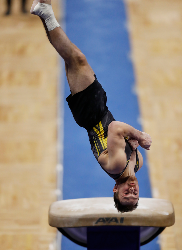 Iowa's Dylan Ellsworth competes on the vault