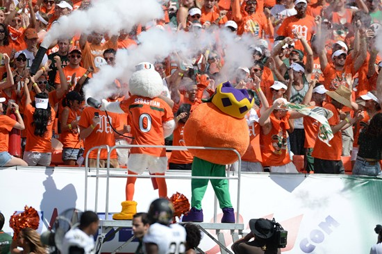 Sebastian the Ibis entertains the University of Miami Hurricane fans during a game against the Wake Forest Demon Deacons at Sun Life Stadium on...
