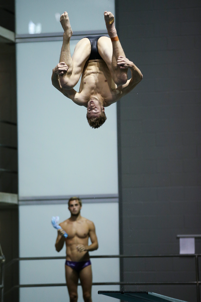 Iowa's William Brenner competes in the men's 1-meter springboard competition during the third day of the Hawkeye Invitational at the Campus Recreation and Wellness Center on November 16, 2018. (Tork Mason/hawkeyesports.com)