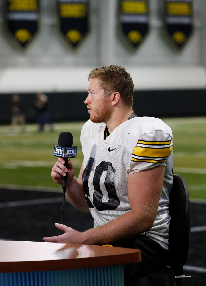 Iowa Hawkeyes defensive end Parker Hesse (40) on the Big Ten Network set Monday, August 20, 2018 at the Hansen Football Performance Center. (Brian Ray/hawkeyesports.com)
