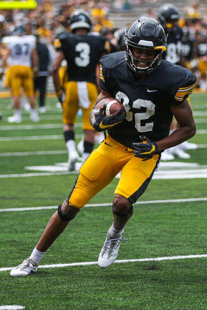 Iowa Hawkeyes wide receiver Calvin Lockett (82)  during Kids Day at Kinnick Stadium on Saturday, August 10, 2019. (Lily Smith/hawkeyesports.com)