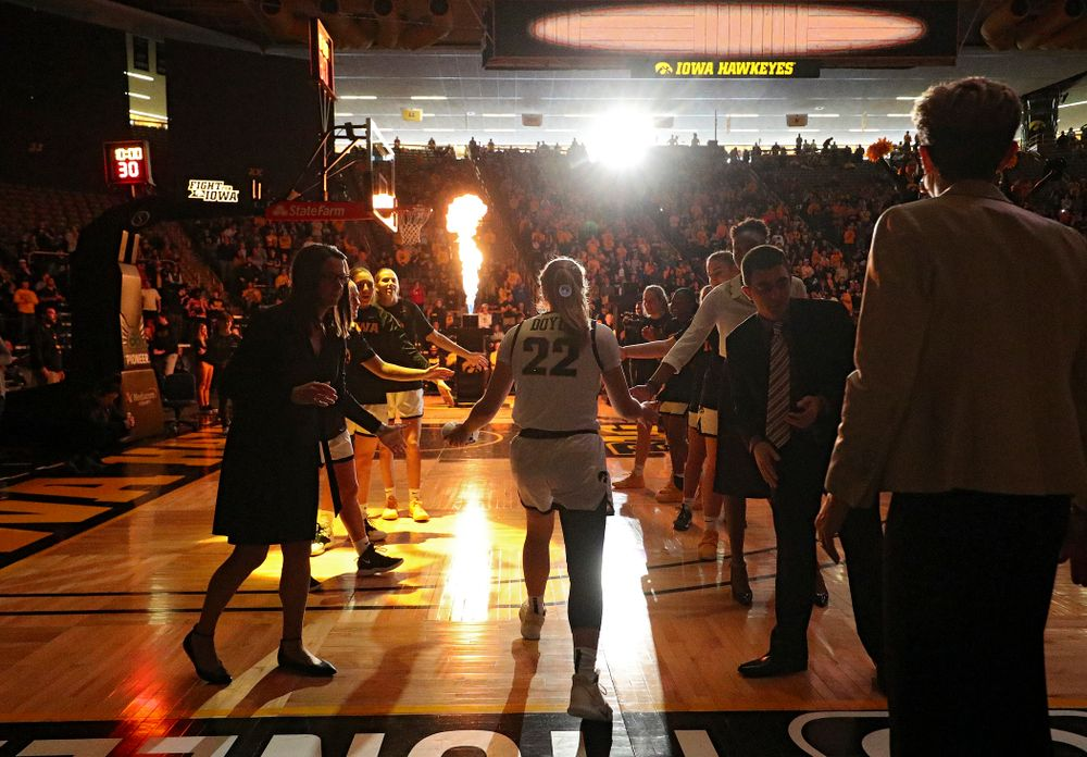 Iowa Hawkeyes guard Kathleen Doyle (22) is introduced before their game at Carver-Hawkeye Arena in Iowa City on Tuesday, December 31, 2019. (Stephen Mally/hawkeyesports.com)