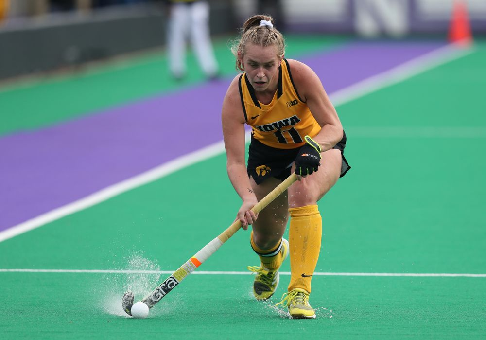 Iowa Hawkeyes Katie Birch (11) against the Michigan Wolverines in the semi-finals of the Big Ten Tournament Friday, November 2, 2018 at Lakeside Field on the campus of Northwestern University in Evanston, Ill. (Brian Ray/hawkeyesports.com)