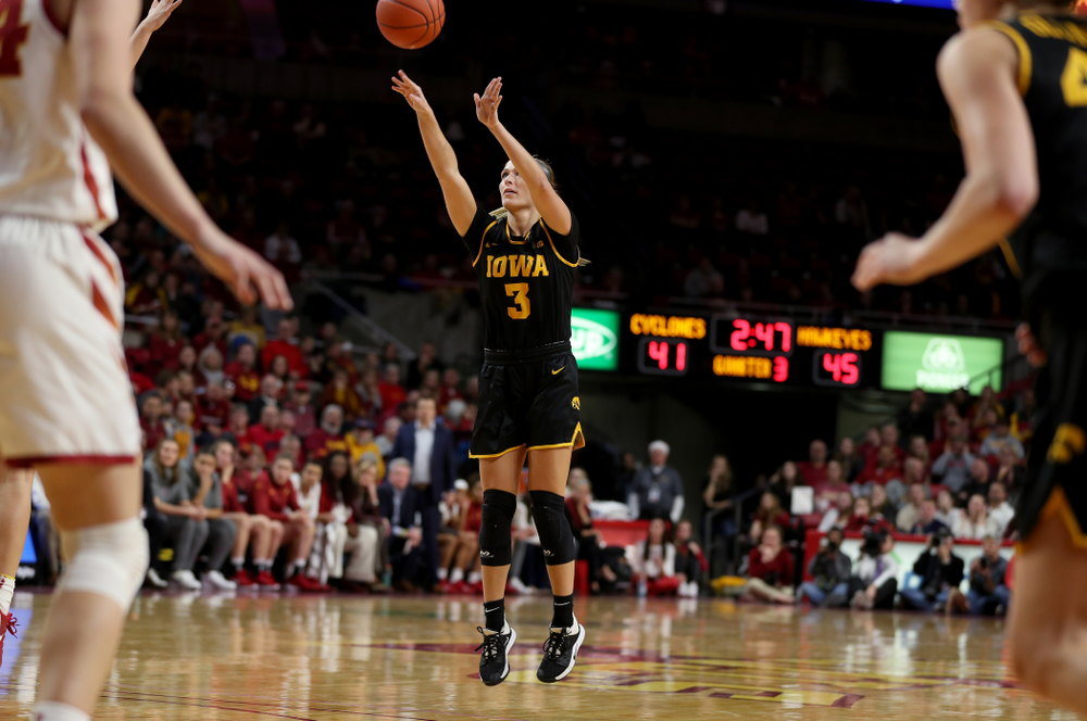 Iowa Hawkeyes guard Makenzie Meyer (3) against the Iowa State Cyclones Wednesday, December 11, 2019 at Hilton Coliseum in Ames, Iowa(Brian Ray/hawkeyesports.com)