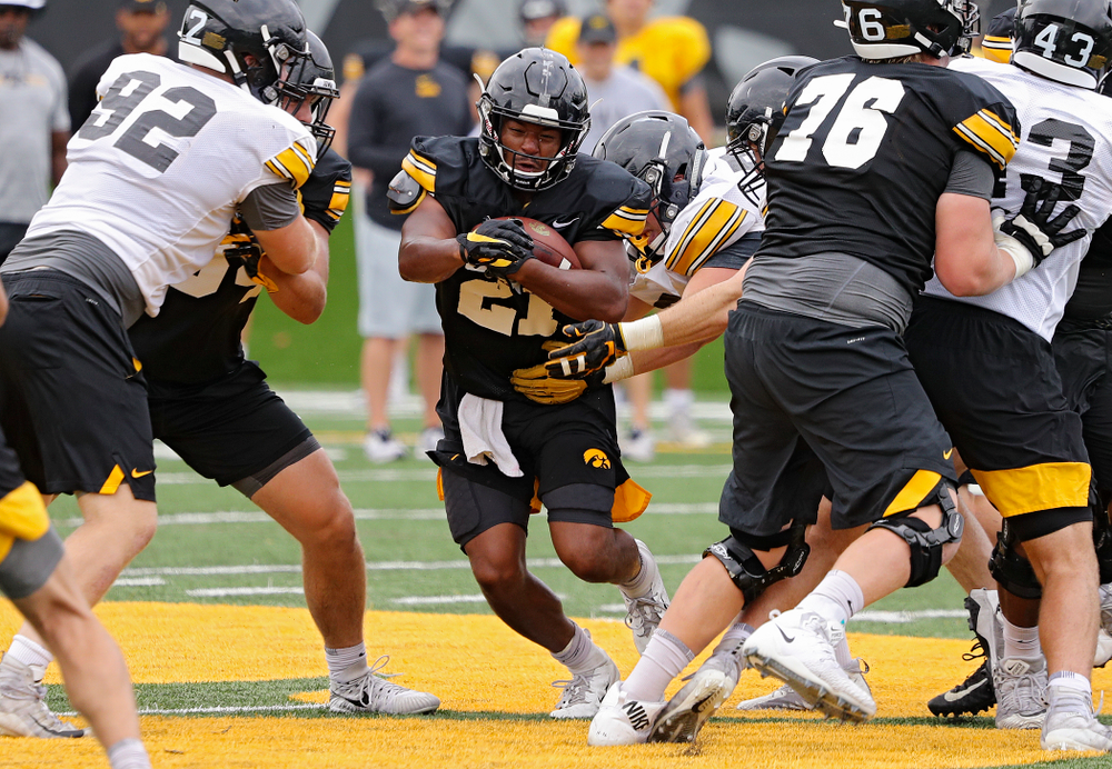 Iowa Hawkeyes running back Ivory Kelly-Martin (21) on a run during Fall Camp Practice No. 15 at the Hansen Football Performance Center in Iowa City on Monday, Aug 19, 2019. (Stephen Mally/hawkeyesports.com)