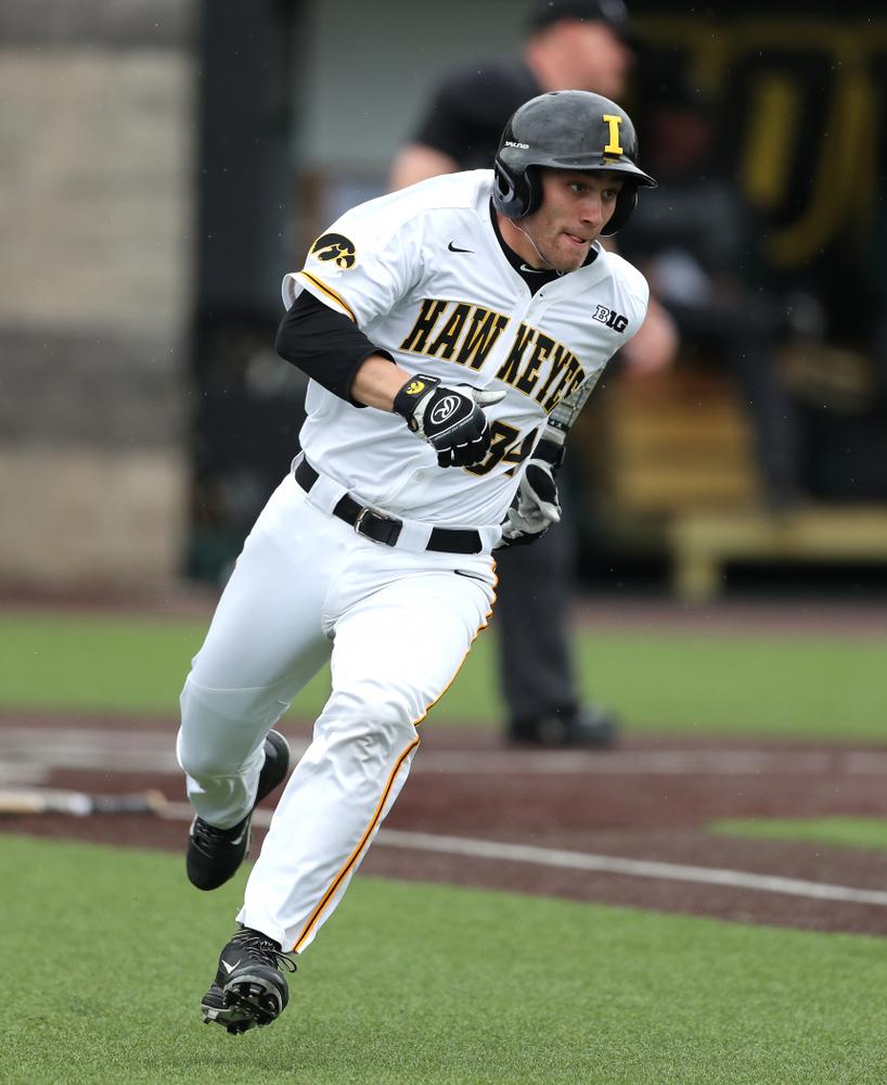 Iowa Hawkeyes catcher Austin Martin (34) against Michigan State Sunday, May 12, 2019 at Duane Banks Field. (Brian Ray/hawkeyesports.com)
