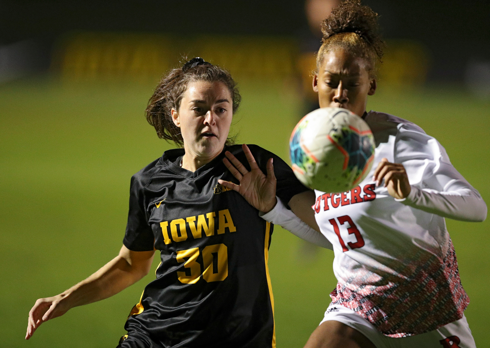 Iowa forward Devin Burns (30) eyes the ball during the first half of their match at the Iowa Soccer Complex in Iowa City on Friday, Oct 11, 2019. (Stephen Mally/hawkeyesports.com)