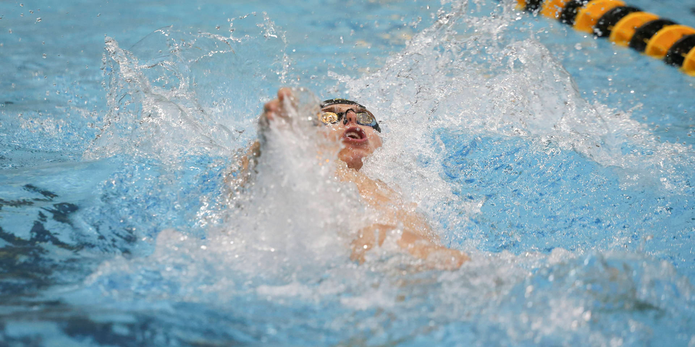 Iowa's Sergey Kuznetsov swims the 100-yard backstroke during the Iowa swimming and diving meet vs Notre Dame and Illinois on Saturday, January 11, 2020 at the Campus Recreation and Wellness Center. (Lily Smith/hawkeyesports.com)
