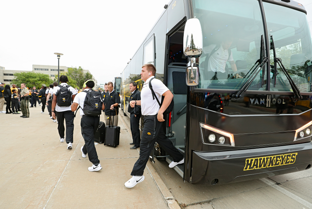 Iowa Hawkeyes linebacker Seth Benson (44) steps off the bus as he arrives with his team before their game at Kinnick Stadium in Iowa City on Saturday, Sep 28, 2019. (Stephen Mally/hawkeyesports.com)