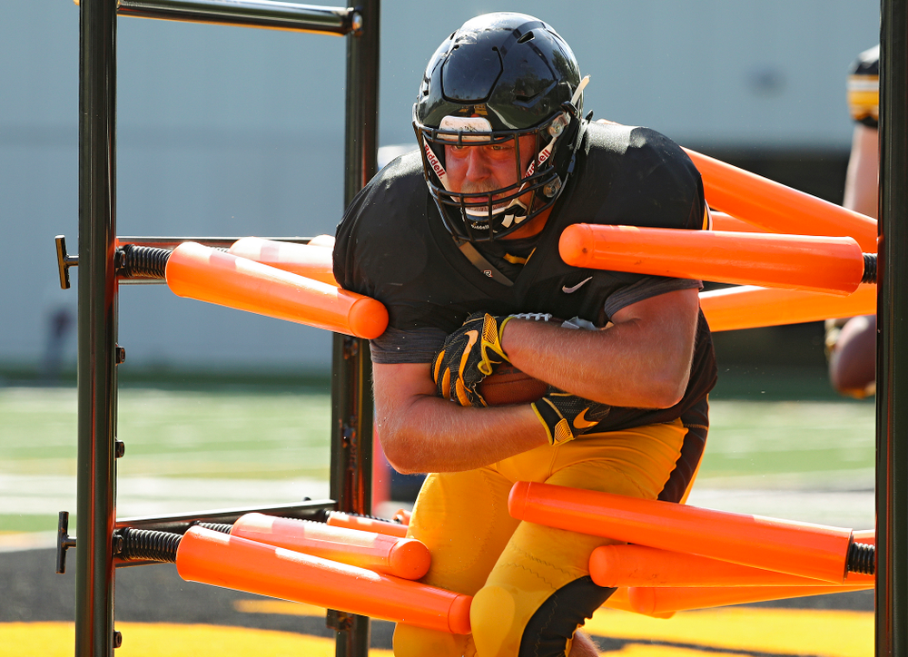 Iowa Hawkeyes fullback Brady Ross (36) runs a drill during Fall Camp Practice #5 at the Hansen Football Performance Center in Iowa City on Tuesday, Aug 6, 2019. (Stephen Mally/hawkeyesports.com)