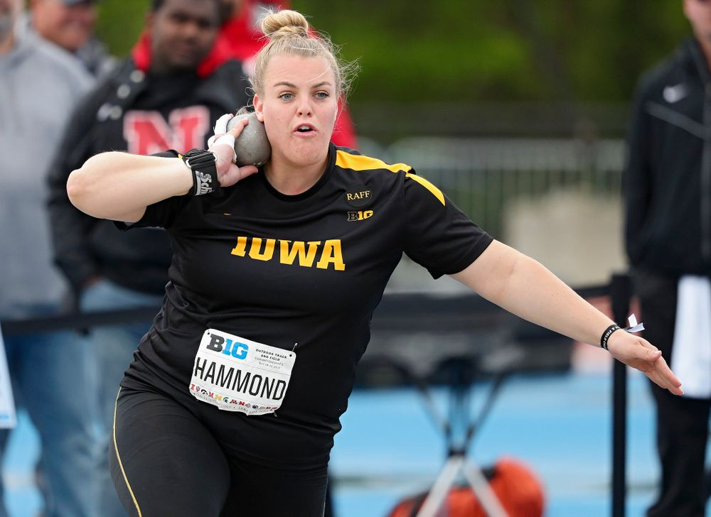 Iowa's Erika Hammond throws in the women's shot put event on the second day of the Big Ten Outdoor Track and Field Championships at Francis X. Cretzmeyer Track in Iowa City on Saturday, May. 11, 2019. (Stephen Mally/hawkeyesports.com)