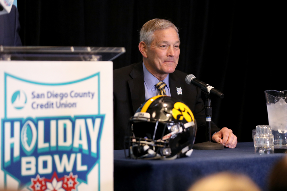 Iowa Hawkeyes head coach Kirk Ferentz smiles during a press conference leading up to the Holiday Bowl Thursday, December 26, 2019 in San Diego. (Brian Ray/hawkeyesports.com)