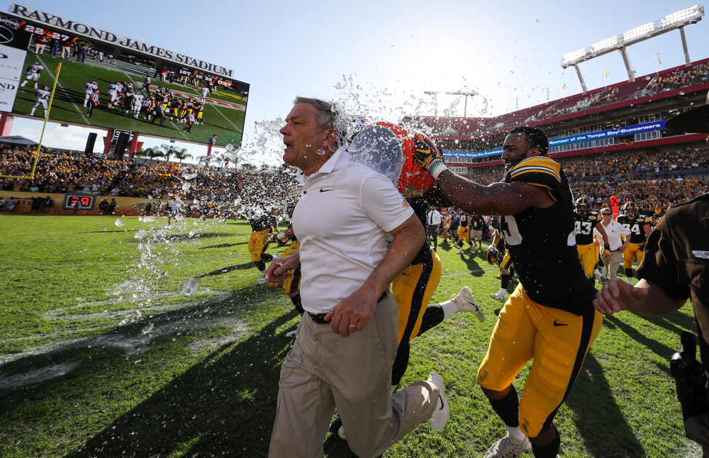 Iowa Hawkeyes head coach Kirk Ferentz during their Outback Bowl Tuesday, January 1, 2019 at Raymond James Stadium in Tampa, FL. (Brian Ray/hawkeyesports.com)