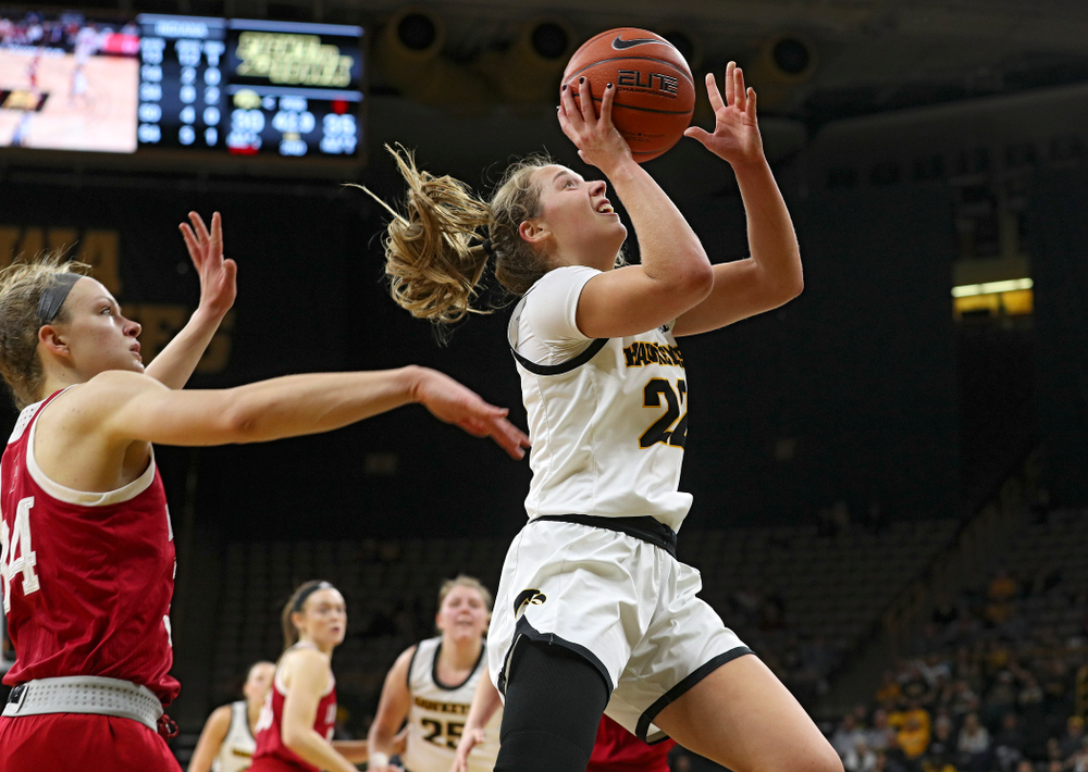 Iowa Hawkeyes guard Kathleen Doyle (22) makes a basket during the second quarter of their game at Carver-Hawkeye Arena in Iowa City on Sunday, January 12, 2020. (Stephen Mally/hawkeyesports.com)