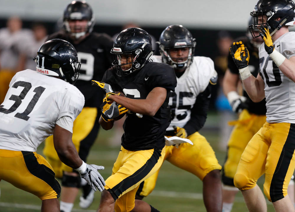 Iowa Hawkeyes wide receiver Ihmir Smith-Marsette (6) during spring practice Wednesday, March 28, 2018 at the Hansen Football Performance Center.  (Brian Ray/hawkeyesports.com)