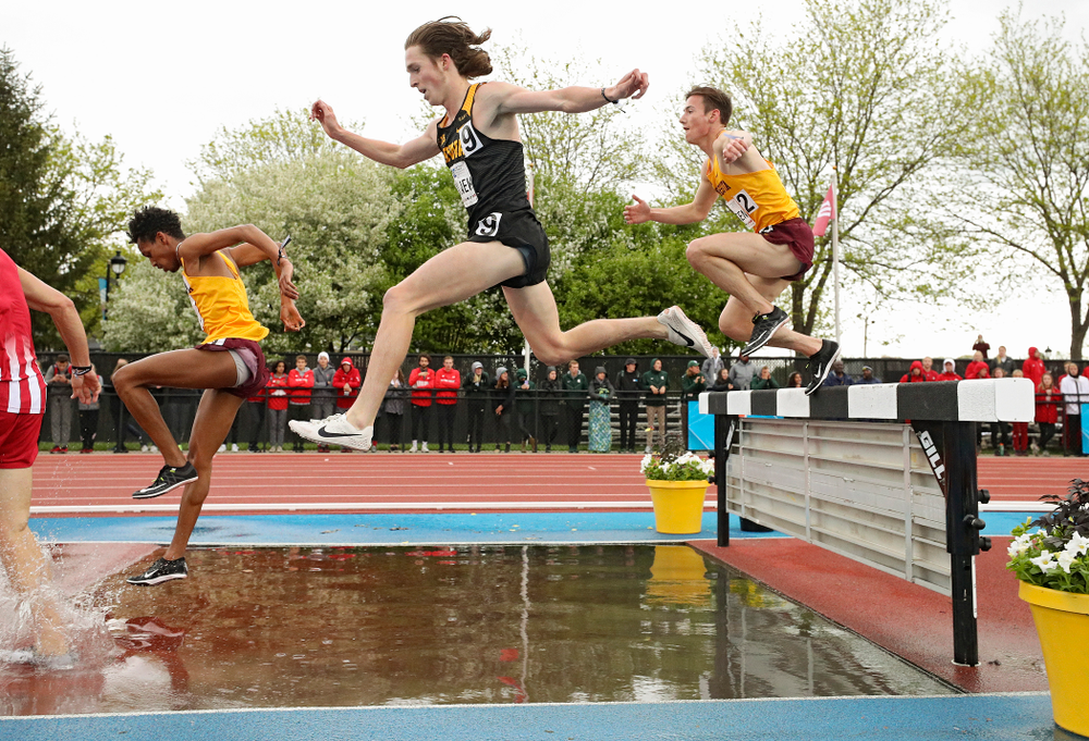 Iowa's Nathan Mylenek runs in the men's 3000 meter steeplechase event on the second day of the Big Ten Outdoor Track and Field Championships at Francis X. Cretzmeyer Track in Iowa City on Saturday, May. 11, 2019. (Stephen Mally/hawkeyesports.com)