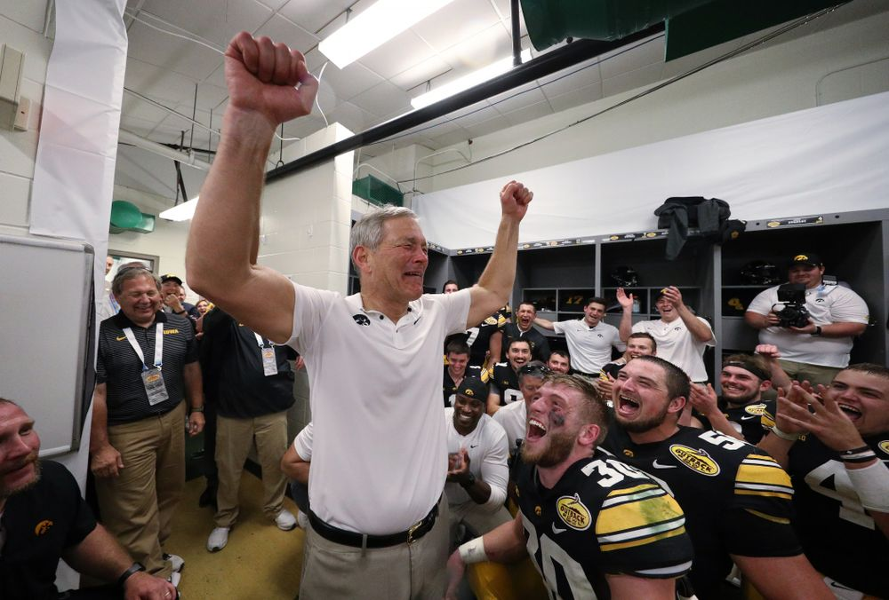Iowa Hawkeyes head coach Kirk Ferentz tears up as the team cheers following their Outback Bowl victory Tuesday, January 1, 2019 at Raymond James Stadium in Tampa, FL. (Brian Ray/hawkeyesports.com)