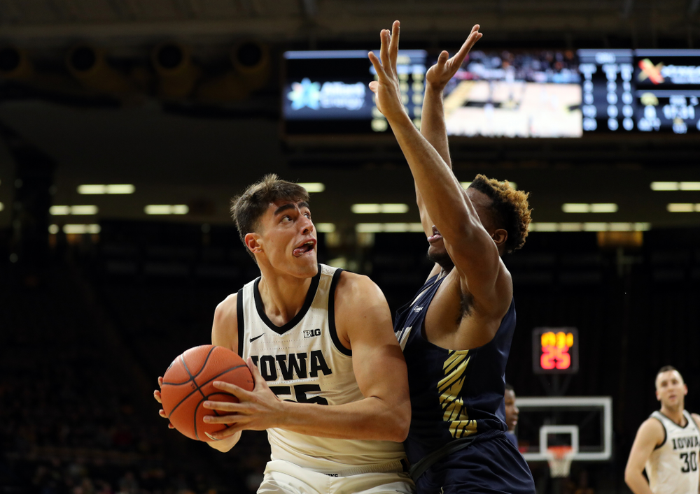 Iowa Hawkeyes forward Luka Garza (55) against Oral Roberts Friday, November 15, 2019 at Carver-Hawkeye Arena. (Brian Ray/hawkeyesports.com)