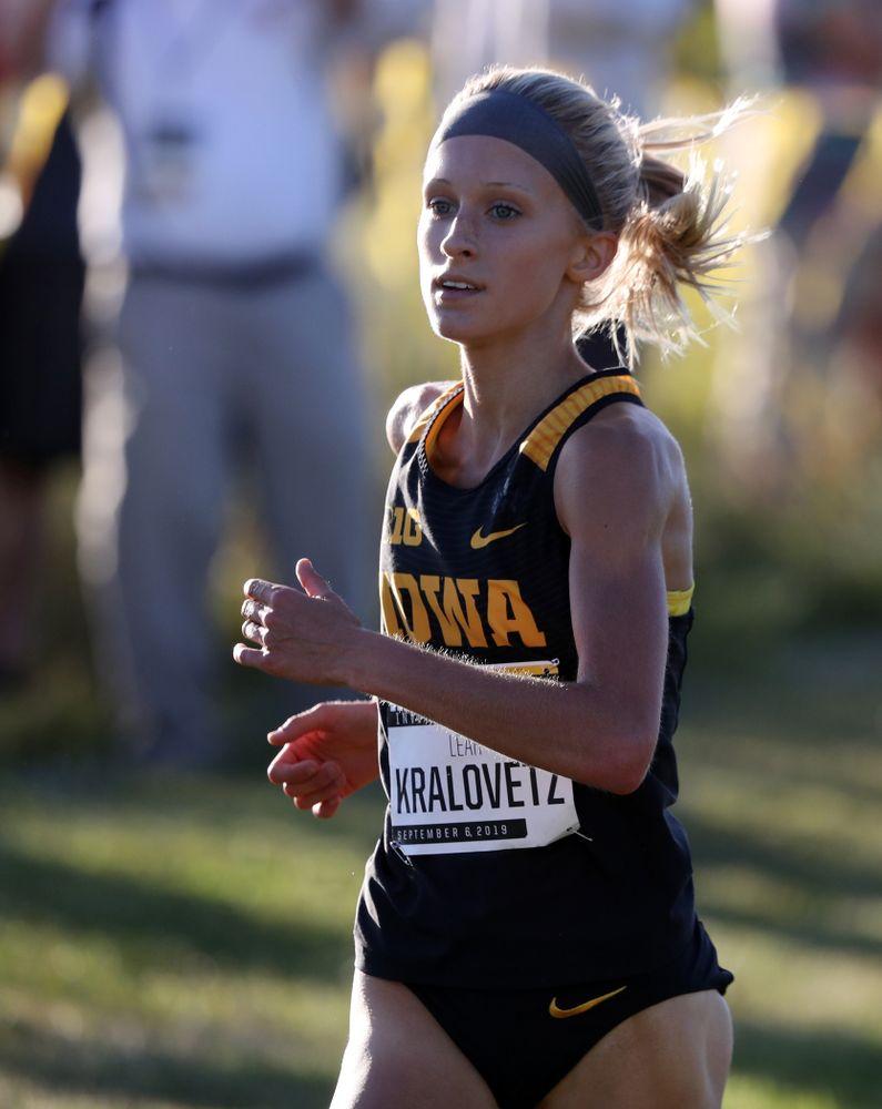 IowaÕs Leah Kralovetz runs in the 2019 Hawkeye Invitational Friday, September 6, 2019 at the Ashton Cross Country Course. (Brian Ray/hawkeyesports.com)
