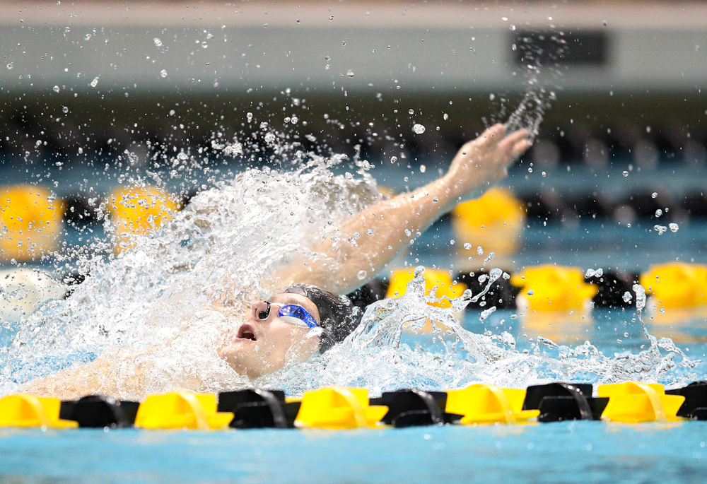 Iowa's Anze Fers Erzen swims the backstroke section in the men's 400 yard medley relay event during their meet at the Campus Recreation and Wellness Center in Iowa City on Friday, February 7, 2020. (Stephen Mally/hawkeyesports.com)