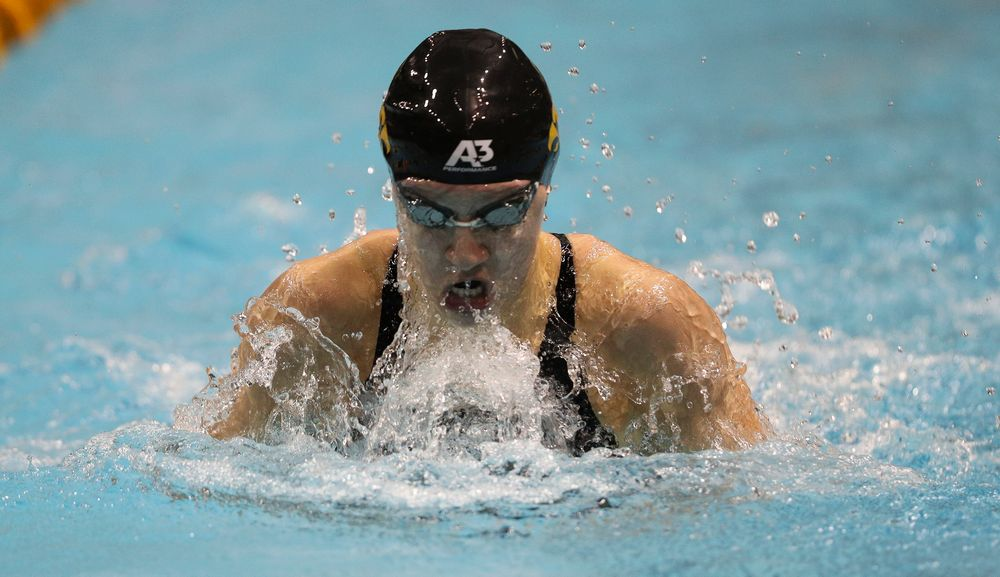 Iowa's Sage Ohlensehlen swims the breastroke leg of the 200-yard medley relay during the third day of the Hawkeye Invitational at the Campus Recreation and Wellness Center on November 16, 2018. (Tork Mason/hawkeyesports.com)
