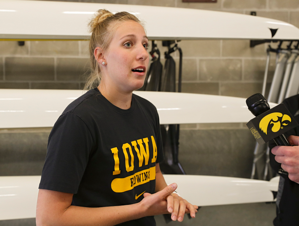 Iowa's Rachel Canon answers a question during media availability at the P. Sue Beckwith, M.D., Boathouse in Iowa City on Wednesday, Apr. 10, 2019. (Stephen Mally/hawkeyesports.com)