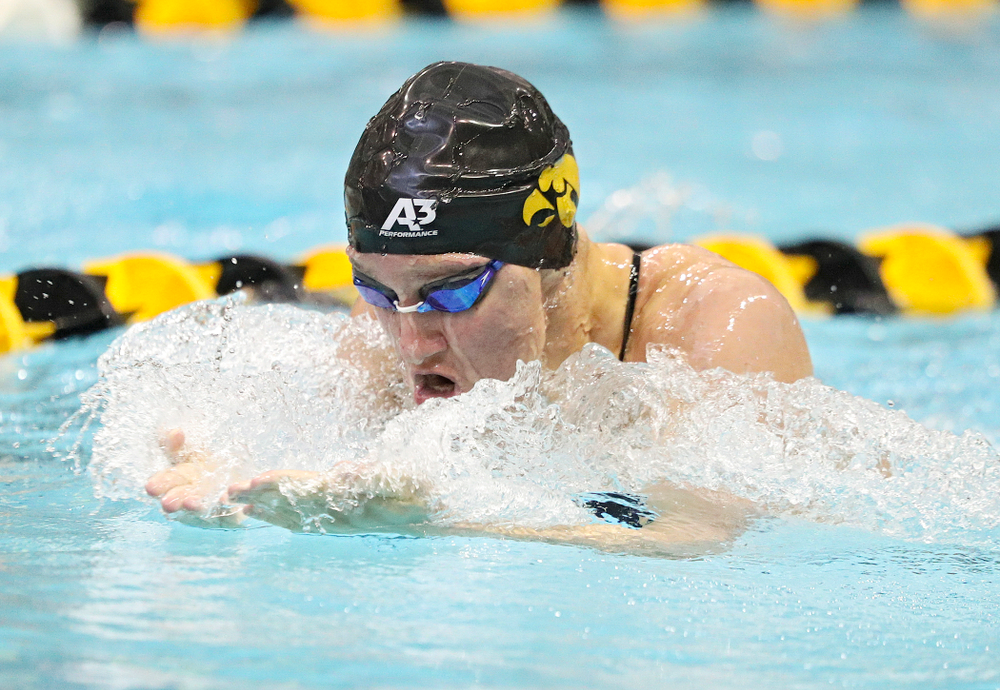Iowa's Sage Ohlensehlen swims the women's 200-yard breaststroke event during their meet against Michigan State and Northern Iowa at the Campus Recreation and Wellness Center in Iowa City on Friday, Oct 4, 2019. (Stephen Mally/hawkeyesports.com)