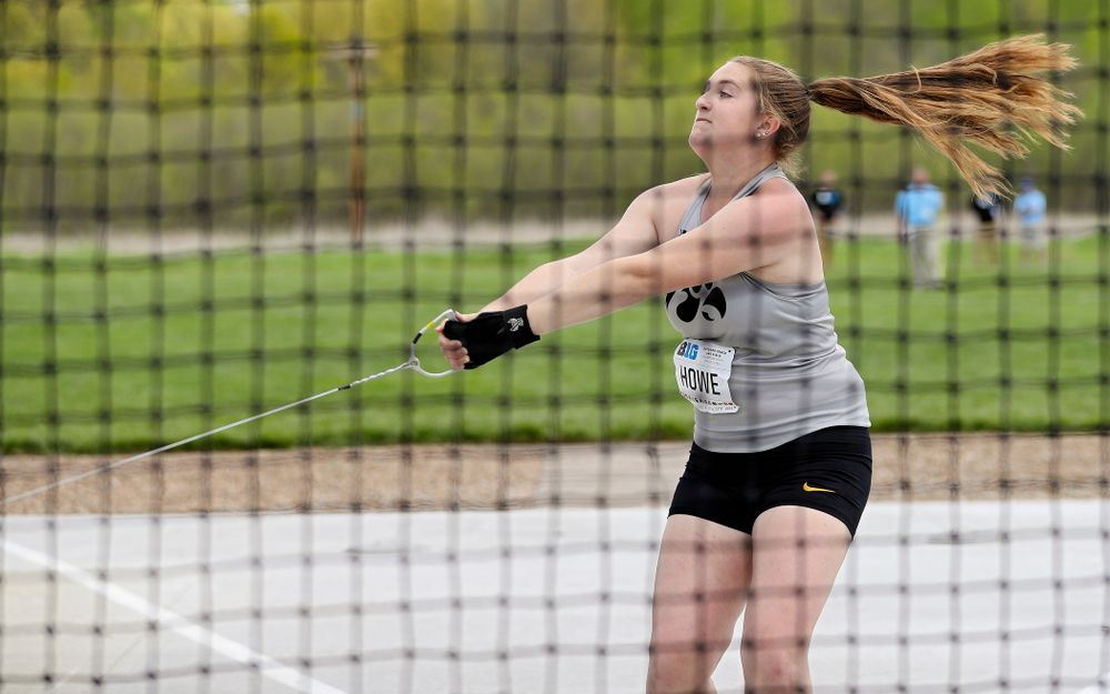 Iowa's Amanda Howe throws during the women's hammer throw event on the first day of the Big Ten Outdoor Track and Field Championships at Francis X. Cretzmeyer Track in Iowa City on Friday, May. 10, 2019. (Stephen Mally/hawkeyesports.com)