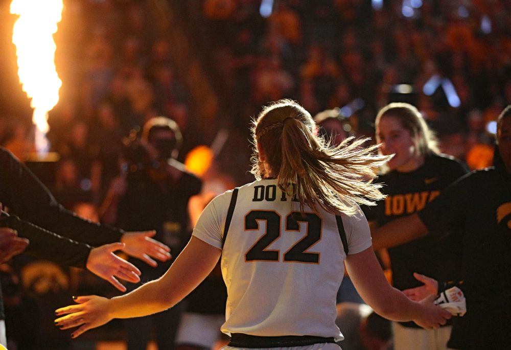 Iowa Hawkeyes guard Kathleen Doyle (22) is introduced before the game at Carver-Hawkeye Arena in Iowa City on Thursday, February 6, 2020. (Stephen Mally/hawkeyesports.com)