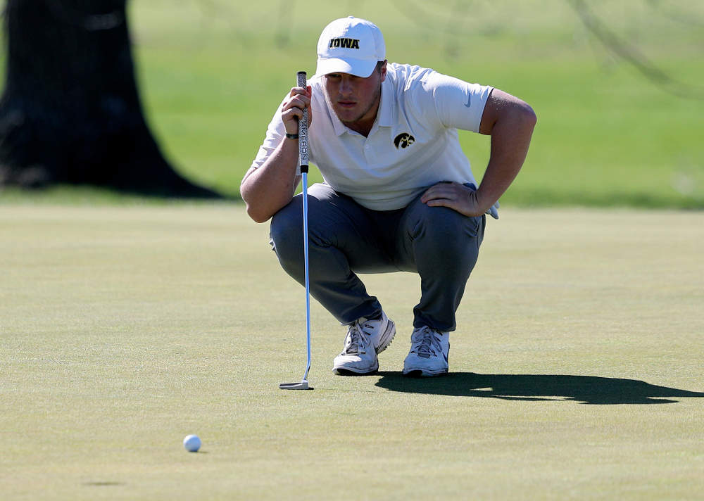 Iowa's Alex Schaake lines up a putt during the first round of the Hawkeye Invitational at Finkbine Golf Course in Iowa City on Saturday, Apr. 20, 2019. (Stephen Mally/hawkeyesports.com)