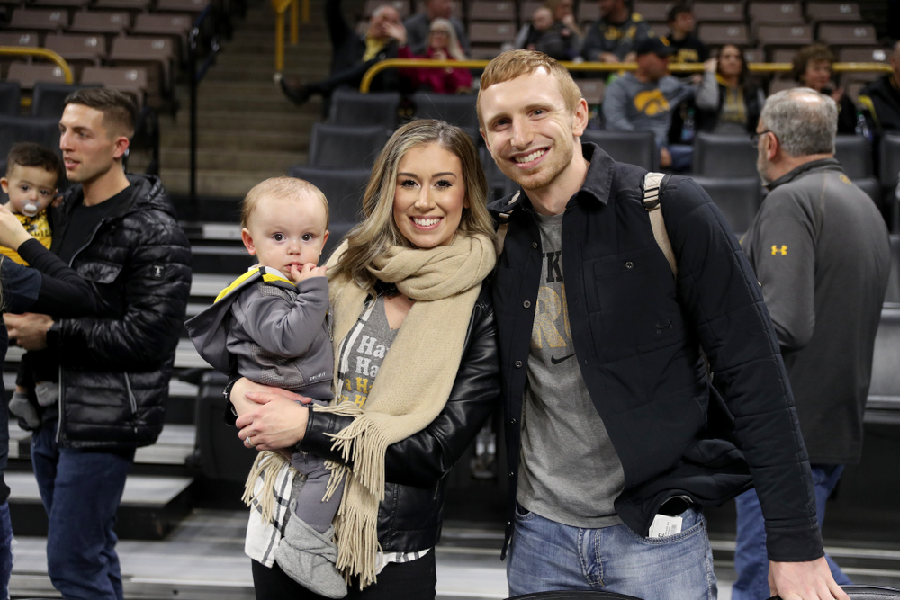 Former Hawkeye Mike Gesell and his family before the Iowa Hawkeyes game against the Maryland Terrapins Friday, January 10, 2020 at Carver-Hawkeye Arena. (Brian Ray/hawkeyesports.com)