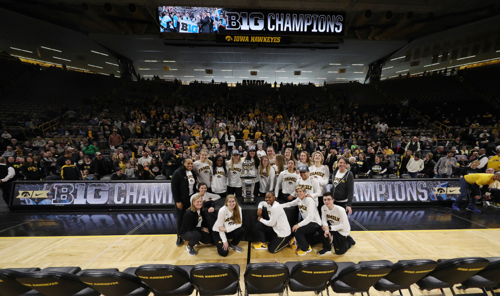 The Iowa Hawkeyes during a celebration of their Big Ten Women's Basketball Tournament championship Monday, March 18, 2019 at Carver-Hawkeye Arena. (Brian Ray/hawkeyesports.com)