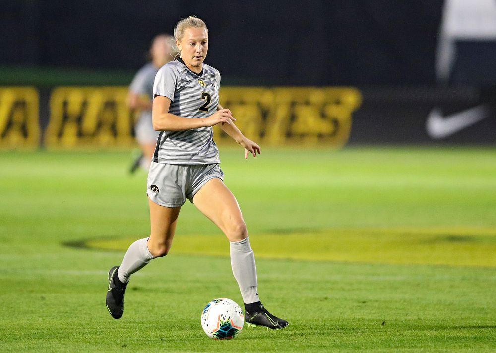 Iowa midfielder Hailey Rydberg (2) moves with the ball during the first half of their match at the Iowa Soccer Complex in Iowa City on Friday, Sep 13, 2019. (Stephen Mally/hawkeyesports.com)