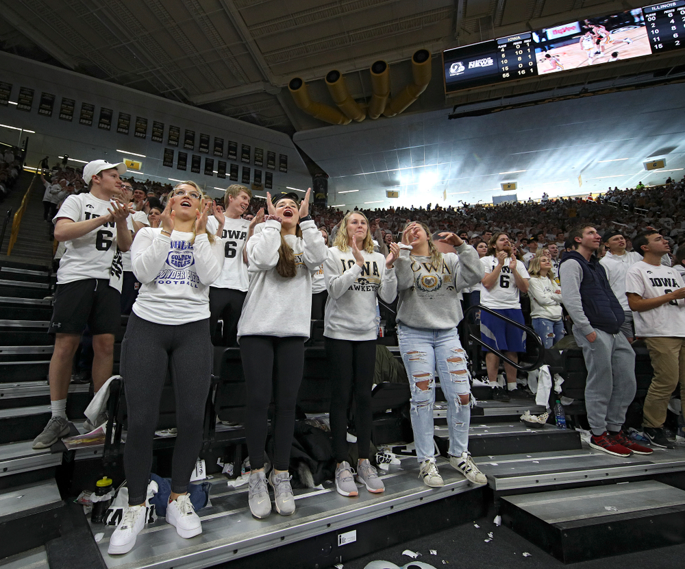 Students in the Hawks Nest cheer during the second half of the game at Carver-Hawkeye Arena in Iowa City on Sunday, February 2, 2020. (Stephen Mally/hawkeyesports.com)