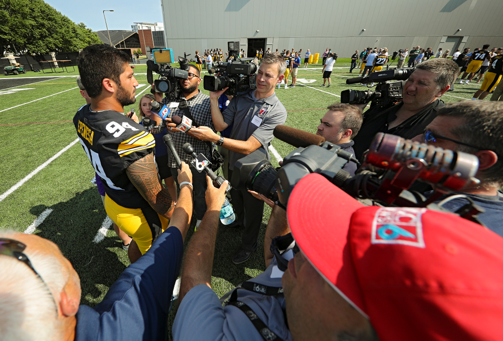 Iowa Hawkeyes defensive end A.J. Epenesa (94) answers questions during Iowa Football Media Day at the Hansen Football Performance Center in Iowa City on Friday, Aug 9, 2019. (Stephen Mally/hawkeyesports.com)
