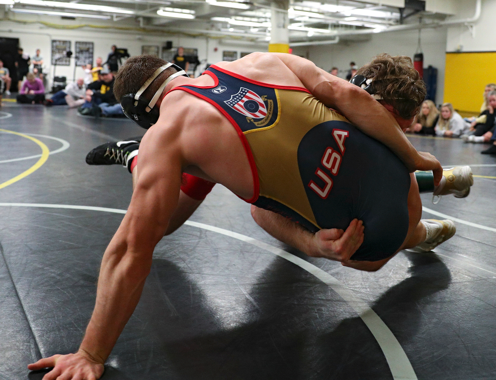Iowa's Sam Cook (from left) drives into Connor Corbin during their preseason match at the Dan Gable Wrestling Complex at Carver-Hawkeye Arena in Iowa City on Thursday, Nov 7, 2019. (Stephen Mally/hawkeyesports.com)