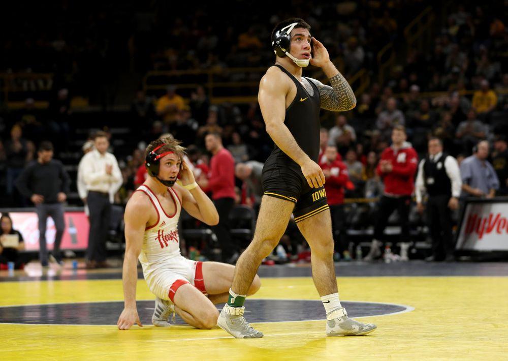 Iowa's Pat Lugo wrestles Nebraska's Collin Purinton at 149 pounds Saturday, January 18, 2020 at Carver-Hawkeye Arena. Lugo won the match 4-1. (Brian Ray/hawkeyesports.com)