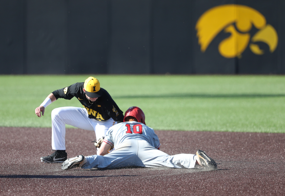 Iowa Hawkeyes infielder Brendan Sher (2) against the Bradley Braves Tuesday, March 26, 2019 at Duane Banks Field. (Brian Ray/hawkeyesports.com)