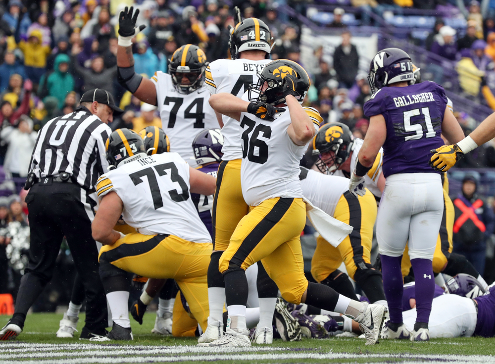 Iowa Hawkeyes fullback Brady Ross (36) celebrates a touchdown against the Northwestern Wildcats Saturday, October 26, 2019 at Ryan Field in Evanston, Ill. (Brian Ray/hawkeyesports.com)